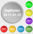Sagittarius icon sign Symbol on eight flat buttons vector image vector image