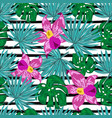 seamless pattern with tropical flowers vector image vector image
