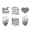 set love romantic lettering for greeting cards vector image vector image