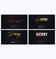 set of merry christmas typographical on dark vector image vector image