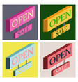 set of open door sign label with text in flat vector image