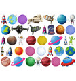 set space objects vector image vector image