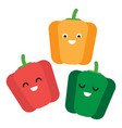 set three cartoon smiling cute bell peppers vector image