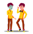 sick teen guy with green face before and after vector image vector image