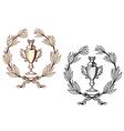 Sport trophy with laurel wreath vector image vector image
