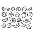 summer fruits doodle set elements isolated on vector image vector image