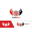 sushi and people logo combination japanese vector image vector image