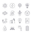 thin line icons set icons for renewable energy vector image