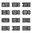 ticket icon set black coupons for event entry vector image