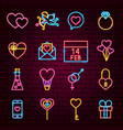 valentine day neon icons vector image