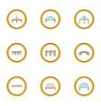 various bridges icons set cartoon style vector image vector image
