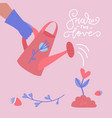 water can and flowers sprout shape heart happy vector image