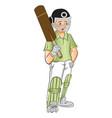 young cricket batsman with a bat vector image
