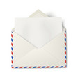 Opened air mail envelope with white paper inside vector image