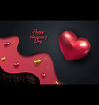3d metallic gold and red hearts on a bright red vector image vector image