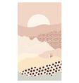 abstract mountain landscape a sun house vector image vector image