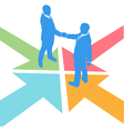 all paths lead to the deal as business people meet vector image vector image