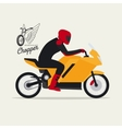Biker with motorcycle and logotype vector image vector image