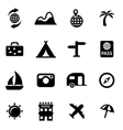 black travel icon set vector image vector image