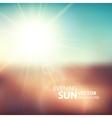 blurry evening scene with brown field sun burst vector image