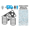 Cash Icon with 1000 Medical Business Pictograms vector image vector image