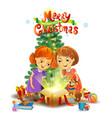 christmas miracle - girls opening a magic gift vector image vector image