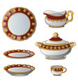 collection plates tureens cups jug for cream vector image vector image