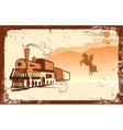 cowboy and locomotive vector image