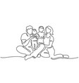 family concept father mother and kids sitting vector image vector image