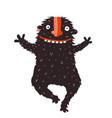 funny black monster run hugging vector image vector image