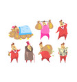 funny fat rich millionaire in different situations vector image vector image