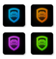 glowing neon car protection or insurance icon vector image vector image