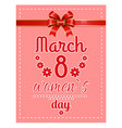 greeting postcard 8 march womens day card vector image vector image