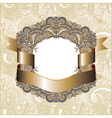 hand draw ornate vintage frame with gold ribbon vector image vector image