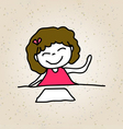 hand drawing happy kid girl in pink dress sitting vector image