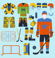 hockey set icons and player vector image vector image
