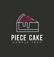 Line Art Logo Template with Peace of Cake Thin vector image