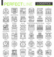 logistics outline mini concept symbols modern vector image