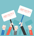 many hand with protest sign protester concept vector image