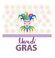 mardi gras colorful jester mask and hat on white vector image vector image