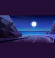 mountain road with night seaview empty highway vector image vector image