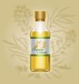 organic canola mustard oil in glass bottle vector image vector image