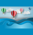 paper art of ballon on sea viewsummer vector image vector image