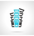 Plastic cups black and blue line icon vector image