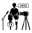 political candidate interview icon simple style vector image