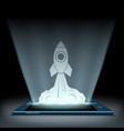 rocket takes off from the screen of the tablet vector image