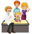 scene with doctor and girl doing health check up vector image