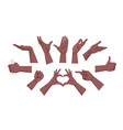 set african american human hands showing different vector image vector image