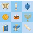 set happy hanukkah decoration to tradition vector image vector image