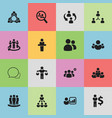 set of 16 editable cooperation icons includes vector image vector image